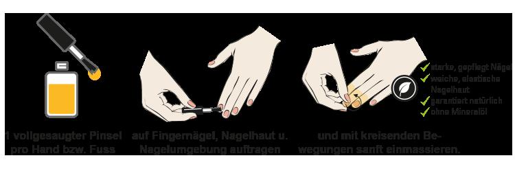Grafik richtige Nagelpflege mit Nagelöl