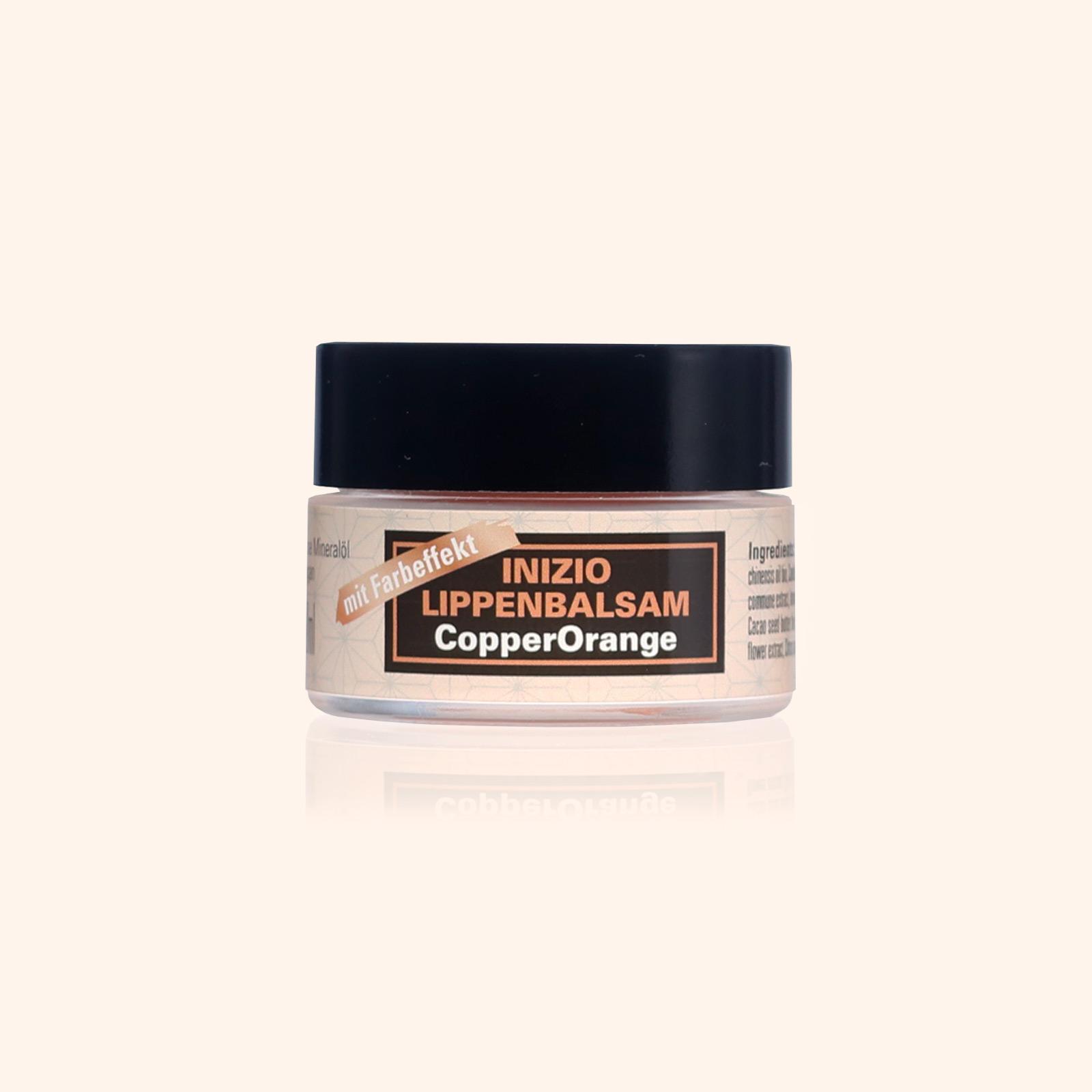 Inizio Lippenbalsam Copper Orange feuchtigkeitsspendende Lippenpflege und Farbglanz in einem